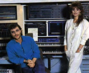 Michael Cretu & Sandra poses in front of PPG Wave 2.2 synthesizer