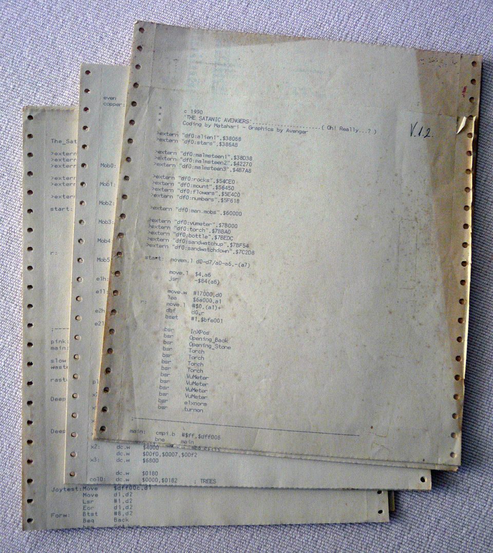 Original dot-matrix printouts of December 1990 coding sessions